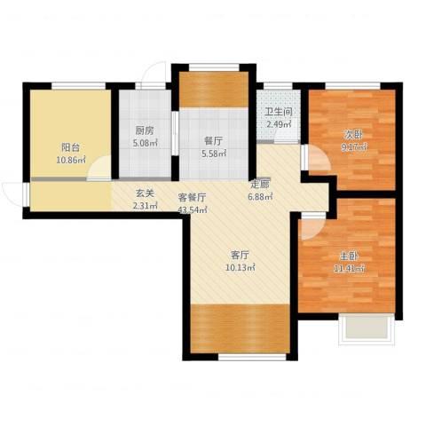 天正银河湾2室2厅1卫1厨90.00㎡户型图