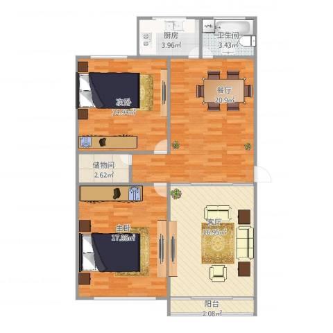 淞虹苑650弄2室2厅1卫1厨111.00㎡户型图