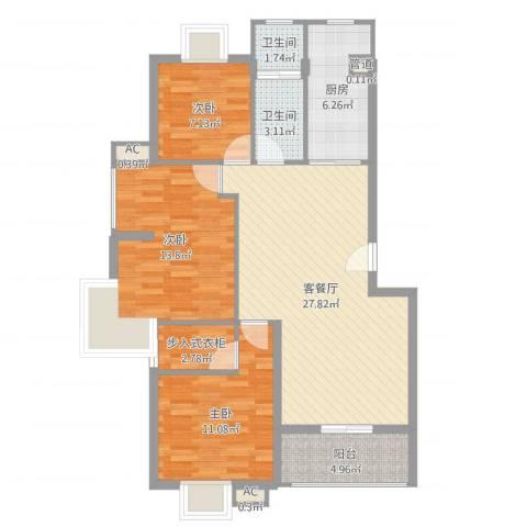 银江花园3室2厅2卫1厨99.00㎡户型图