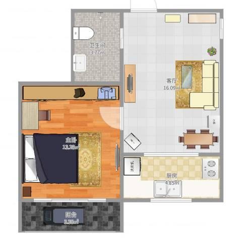 月季园东里1室1厅1卫1厨52.00㎡户型图