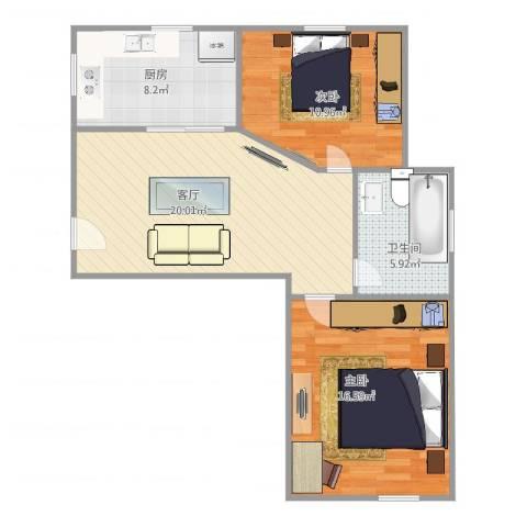 东方康德家园2室1厅1卫1厨82.00㎡户型图