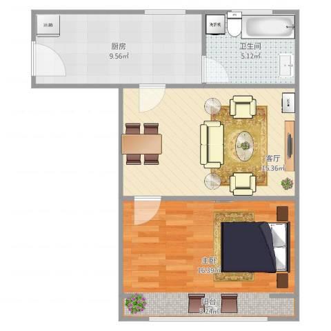 上钢八村1室1厅1卫1厨62.00㎡户型图