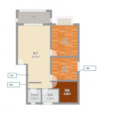 民乐花园3室1厅1卫1厨80.00㎡户型图