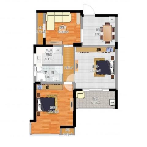 江南经典花园2室2厅1卫1厨93.00㎡户型图
