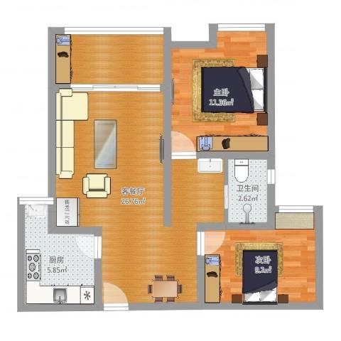 武汉城市广场2室2厅1卫2厨77.00㎡户型图