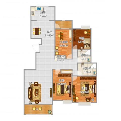 竹园阳光嘉苑4室1厅1卫1厨160.00㎡户型图