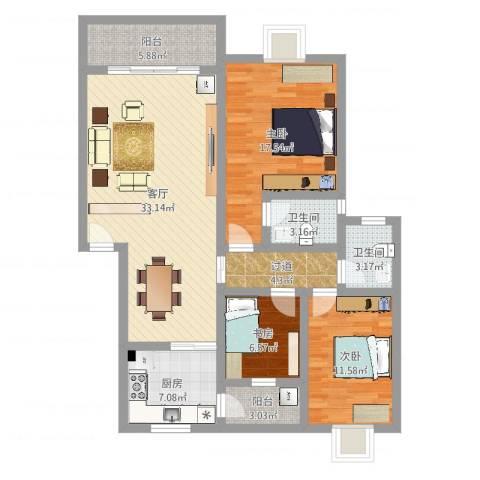 枫林绿洲3室1厅2卫1厨119.00㎡户型图