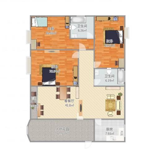 中海万锦豪园梧桐街3室2厅2卫1厨188.00㎡户型图