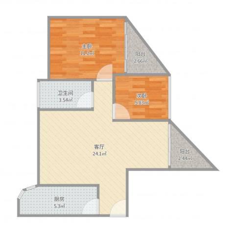 雍和花园1-B-1504房92平两房2室1厅1卫1厨69.00㎡户型图