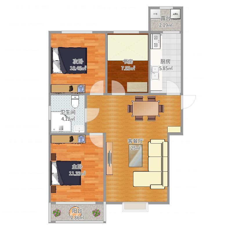 君悦湾113方A户型三室两厅一卫