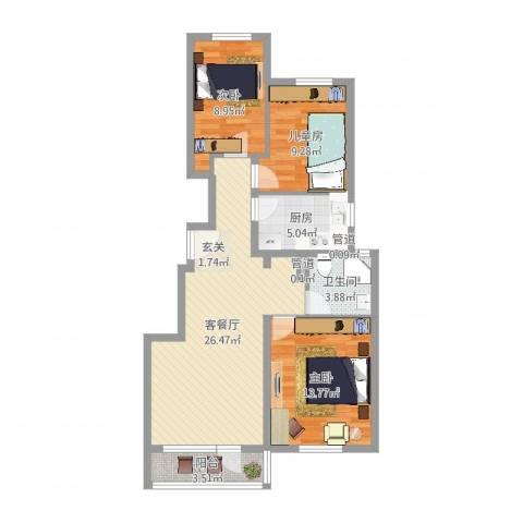 世茂维拉3室2厅1卫1厨102.00㎡户型图