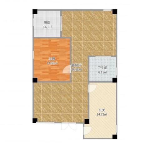 广安苑1室2厅1卫1厨110.00㎡户型图