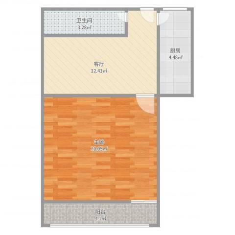 密山新村1室1厅1卫1厨60.00㎡户型图