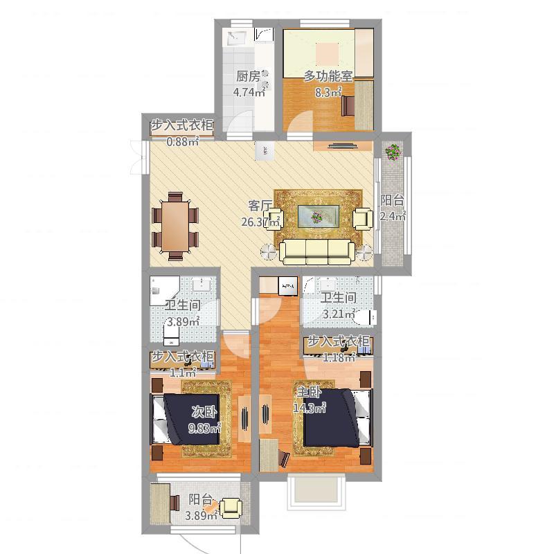 三室两厅两卫120