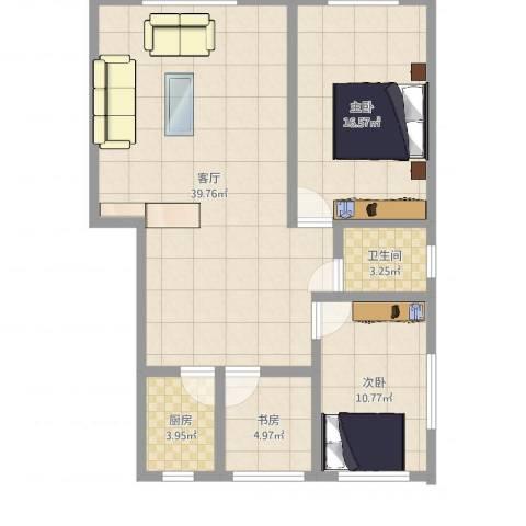 金岭秀水3室1厅1卫1厨99.00㎡户型图