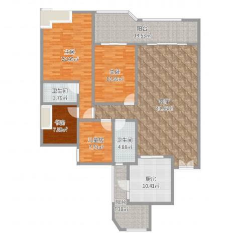 滁州恒大名都4室1厅2卫1厨169.00㎡户型图