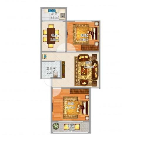 南苑小区206-2-2012室2厅1卫1厨60.00㎡户型图