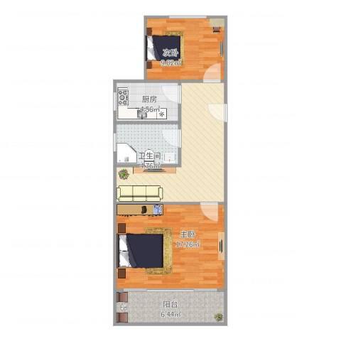 临江二村2室1厅1卫1厨76.00㎡户型图
