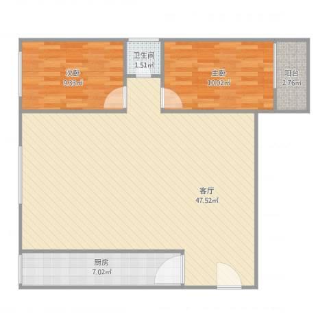 富信广场2室1厅1卫1厨104.00㎡户型图