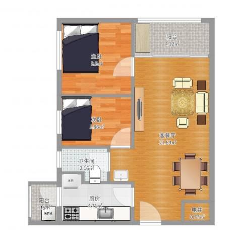 招商锦绣观园2室2厅1卫1厨62.00㎡户型图