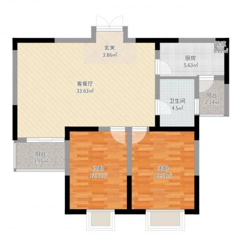 顺驰滨江奥城2室2厅1卫1厨107.00㎡户型图