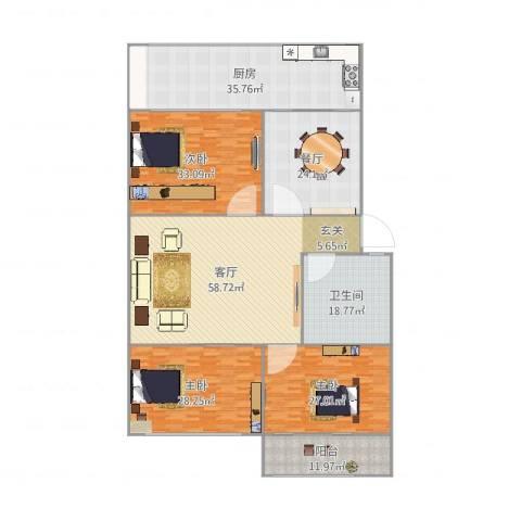 交通医院宿舍3室2厅1卫1厨297.00㎡户型图