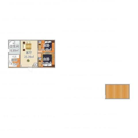 富锦路1659弄小区2室1厅1卫1厨105.00㎡户型图