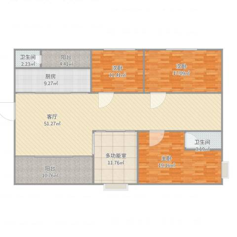 玫瑰名园3室1厅2卫1厨188.00㎡户型图