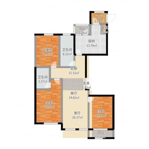 北海公馆3室1厅3卫1厨149.00㎡户型图