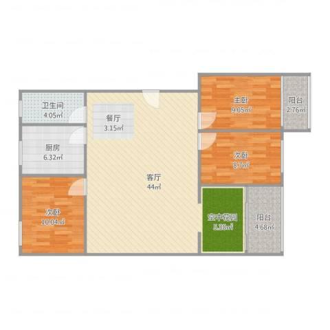 泰和花园3室1厅1卫1厨112.00㎡户型图