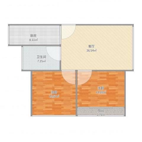 天山华庭两房的2室1厅1卫1厨80.00㎡户型图