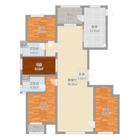 万正广场4室2厅4卫1厨121.82㎡户型图