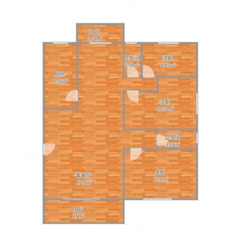 九亭明珠苑3室2厅2卫1厨161.00㎡户型图