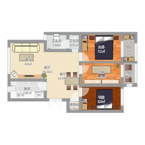 明佳花园3室1厅2卫1厨61.00㎡户型图