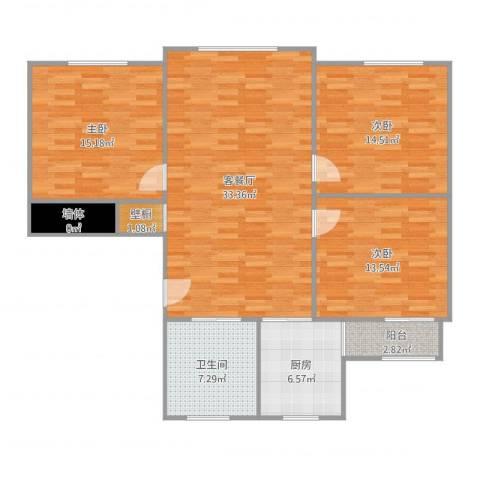 莱阳新家园3室2厅3卫1厨129.00㎡户型图