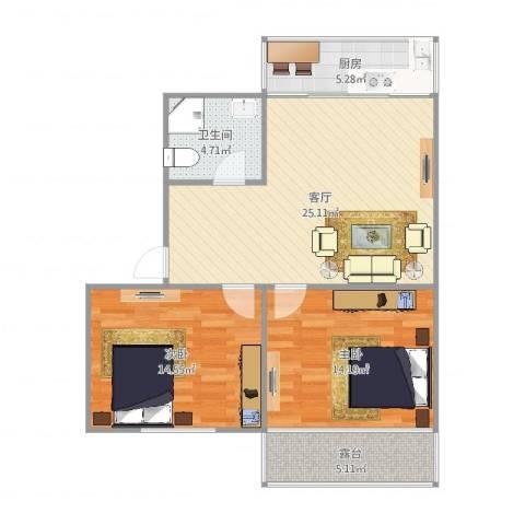 赛斯家园2室1厅1卫1厨92.00㎡户型图