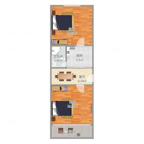 汇成四村2室1厅1卫1厨68.00㎡户型图