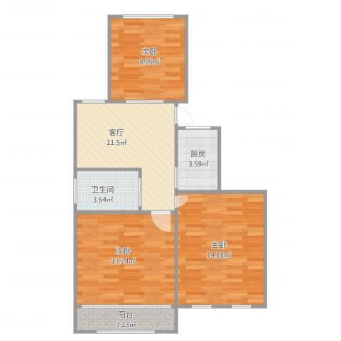 罗山一村25弄21号302室(一梯两户)3室1厅1卫1厨79.00㎡户型图