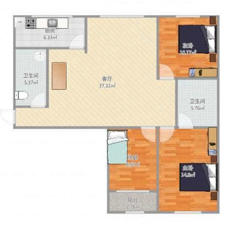 美罗城3室1厅2卫1厨123.00㎡户型图