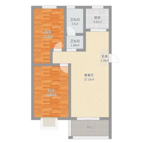美麟・花样年华2室2厅2卫1厨87.00㎡户型图