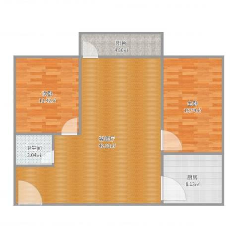 新威花园2室2厅1卫1厨116.00㎡户型图