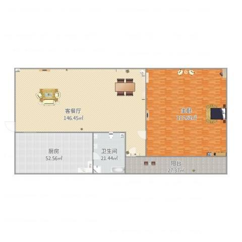 河畔花园13座6061室2厅1卫1厨470.00㎡户型图