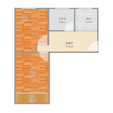 梅园四街坊2室2厅1卫1厨74.00㎡户型图