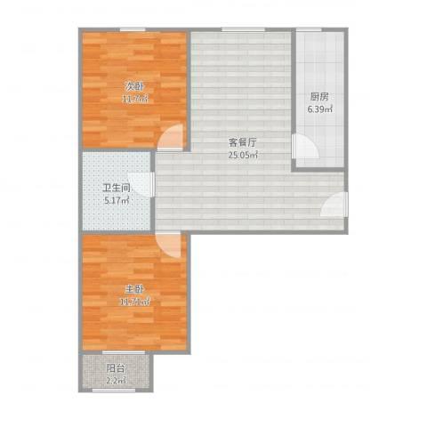 融泽家园2室2厅1卫1厨78.00㎡户型图