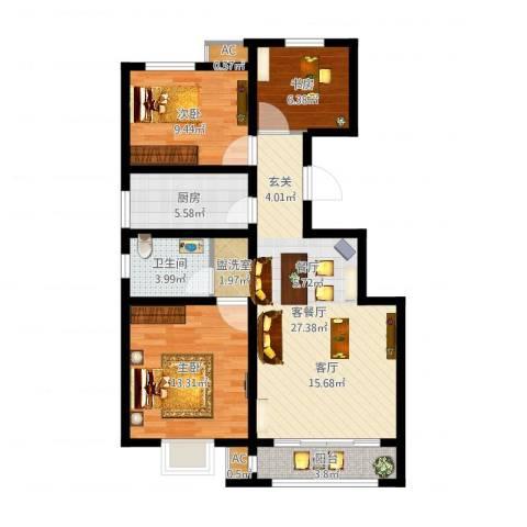 首创康桥郡3室2厅1卫1厨89.00㎡户型图