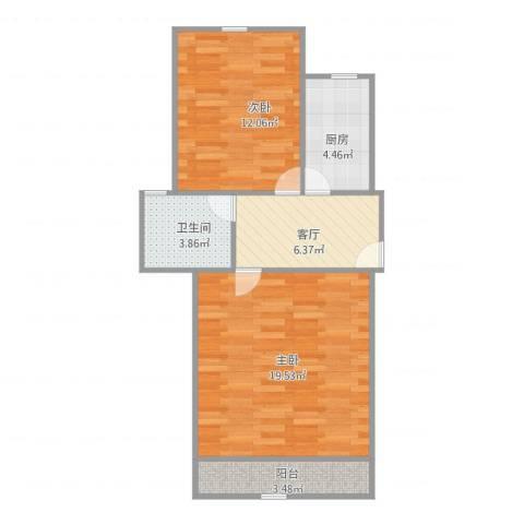 宝山三村2室1厅1卫1厨68.00㎡户型图