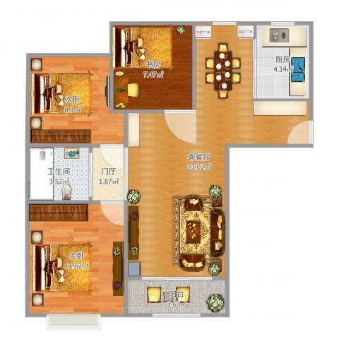 嘉利华府庄园3室2厅1卫1厨85.00㎡户型图