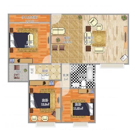东盛公寓3室2厅1卫1厨138.00㎡户型图