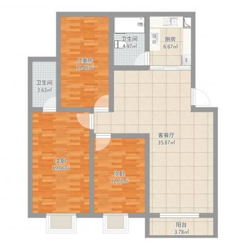 马厂小区3室2厅2卫1厨127.00㎡户型图