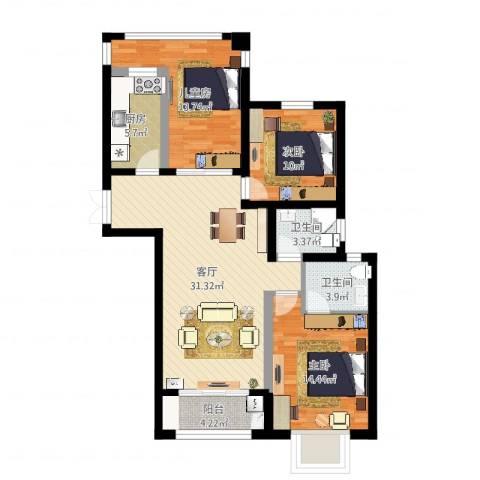 瑞景国际3室1厅2卫1厨108.00㎡户型图